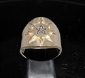 Picture of 21 x BRONZE MEN'S PENTAGRAM BAND RINGS WITH EIGHT COMPASS POINTS ANTIQUED WHOLESALE-LOT