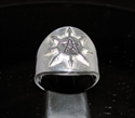 Picture of 21 x STERLING SILVER MEN'S PENTAGRAM BAND RINGS WITH EIGHT COMPASS POINTS ANTIQUED WHOLESALE-LOT