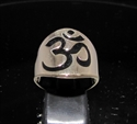 Picture of 21 x BRONZE MEN'S BAND RINGS OHM OM AUM SYMBOL BUDDHISM BLACK ENAMEL INLAY WHOLESALE-LOT