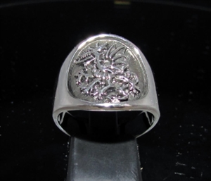 Picture of 21 x STERLING SILVER MEN'S MEDIEVAL BAND RINGS WITH A GRIFFIN GRYPHON DRAGON ANTIQUED WHOLESALE-LOT