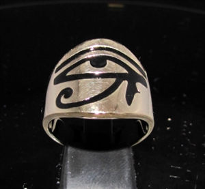 Picture of 21 x BRONZE MEN'S BAND RINGS ALL SEEING EYE UDJAT WEDJAT EGYPT BLACK ENAMEL INLAY WHOLESALE-LOT