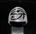 Picture of 21 x STERLING SILVER MEN'S BAND RINGS ALL SEEING EYE UDJAT WEDJAT EGYPT BLACK ENAMEL INLAY WHOLESALE-LOT