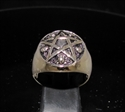 Picture of 21 x BRONZE MEN'S WARLOCK SIGNET RINGS CELTIC PENTAGRAM WITH 5 SKULLS ANTIQUED WHOLESALE-LOT