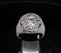 Picture of 21 x STERLING SILVER MEN'S WARLOCK SIGNET RINGS CELTIC PENTAGRAM WITH 5 SKULLS ANTIQUED WHOLESALE-LOT