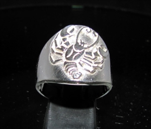 Picture of 21 x ROUND STERLING SILVER MEN'S ZODIAC BAND RINGS CANCER CRAB STAR SIGN WHOLESALE-LOT
