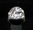 Picture of 21 x ROUND STERLING SILVER MEN'S ZODIAC BAND RINGS LEO LION STAR SIGN WHOLESALE-LOT
