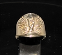 Picture of 21 x BRONZE ROCK AND ROLL BAND RINGS WITH A WINGED HORNED HAND SYMBOL WHOLESALE-LOT