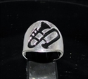 Picture of 21 x STERLING SILVER JAZZ BAND RINGS TROMBONE MUSIC SYMBOL BLACK WHOLESALE-LOT