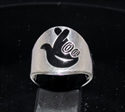 Picture of 21 x STERLING SILVER GOOD LUCK RINGS WITH CROSSED FINGERS FACE SYMBOL BLACK WHOLESALE-LOT