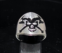 Picture of 21 x STERLING SILVER MEDIEVAL SKULL RINGS CROSSED AXES COAT OF ARMS BLACK WHOLESALE-LOT