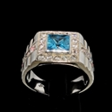 Picture of 21 x CLASSIC MEN'S STERLING SILVER RINGS WITH BLUE PRINCESS CUT CZ AND 26 SMALL WHITES WHOLESALE-LOT