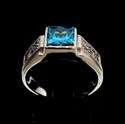 Picture of 21 x CLASSIC MEN'S STERLING SILVER RINGS WITH BLUE PRINCESS CUT CZ AND 16 SMALL WHITES WHOLESALE-LOT