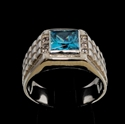 Picture of 21 x CLASSIC MEN'S STERLING SILVER RINGS WITH BLUE PRINCESS CUT CZ AND 6 SMALL WHITES WHOLESALE-LOT