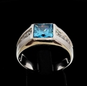 Picture of 21 x CLASSIC MEN'S STERLING SILVER RINGS WITH BLUE PRINCESS CUT CZ AND 8 SMALL WHITES WHOLESALE-LOT