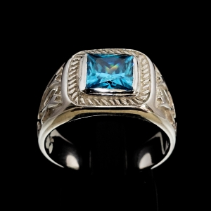 Picture of 21 x CLASSIC MEN'S STERLING SILVER RINGS WITH FRAMED BLUE PRINCESS CUT CUBIC ZIRCONIA WHOLESALE-LOT
