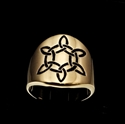 Picture of 21 x ROUND BRONZE CELTIC SIX POINT STAR BAND RINGS TRINITY TRIQUETRA KNOT BLACK WHOLESALE-LOT