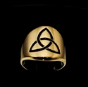 Picture of 21 x BRONZE CELTIC BAND RINGS THREE MARQUISE TRINITY TRIQUETRA KNOT BLACK WHOLESALE-LOT