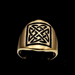 Picture of 21 x BRONZE BAND RINGS RECTANGLE CELTIC KNOT SHIELD PROTECTION BLACK WHOLESALE-LOT