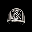 Picture of 21 x STERLING SILVER BAND RINGS RECTANGLE CELTIC KNOT SHIELD PROTECTION BLACK WHOLESALE-LOT