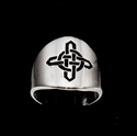 Picture of 21 x ROUND STERLING SILVER BAND RINGS CELTIC CROSS SAILOR'S KNOT PROTECTION BLACK WHOLESALE-LOT