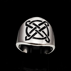 Picture of 21 x ROUND STERLING SILVER BAND RINGS CELTIC ETERNITY KNOT CROSS PROTECTION BLACK WHOLESALE-LOT