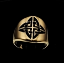 Picture of 21 x ROUND BRONZE BAND RINGS SHIELD CELTIC KNOT CROSS PROTECTION BLACK WHOLESALE-LOT