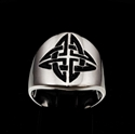 Picture of 21 x ROUND STERLING SILVER BAND RINGS SHIELD CELTIC KNOT CROSS PROTECTION BLACK WHOLESALE-LOT