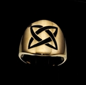 Picture of 21 x ROUND BRONZE BAND RINGS CELTIC ETERNITY KNOT X - CROSS BLACK WHOLESALE-LOT