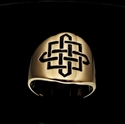 Picture of 21 x ROUND BRONZE BAND RINGS CELTIC SHIELD KNOT CROSS PROTECTION BLACK WHOLESALE-LOT