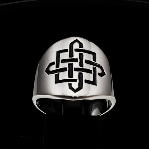 Picture of 21 x ROUND STERLING SILVER BAND RINGS CELTIC SHIELD KNOT CROSS PROTECTION BLACK WHOLESALE-LOT