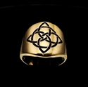 Picture of 21 x ROUND BRONZE BAND RINGS CELTIC KNOT ETERNITY CROSS WITH CIRCLE BLACK WHOLESALE-LOT