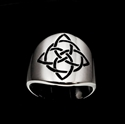 Picture of 21 x ROUND STERLING SILVER BAND RINGS CELTIC KNOT ETERNITY CROSS WITH CIRCLE BLACK WHOLESALE-LOT