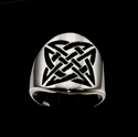 Picture of 21 x ROUND STERLING SILVER BAND RINGS CELTIC SHIELD KNOT SAILOR'S ETERNITY BLACK WHOLESALE-LOT