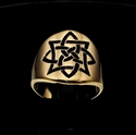 Picture of 21 x ROUND BRONZE BAND RINGS CELTIC SHIELD KNOT SAILOR'S ETERNITY PROTECTION BLACK WHOLESALE-LOT