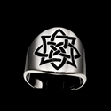 Picture of 21 x ROUND STERLING SILVER RINGS CELTIC SHIELD KNOT SAILOR'S ETERNITY PROTECTION BLACK WHOLESALE-LOT