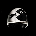Picture of 21 x ROUND STERLING SILVER WALLSTREET RINGS BIG FISH EATS THE SMALL ONE BLACK WHOLESALE-LOT